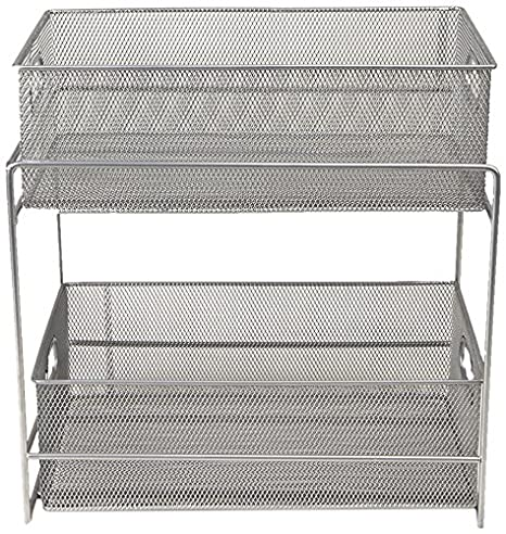 Mind Reader CABASKDR-SIL Storage Basket with Sliding Drawer, Silver ' CABASKDR'