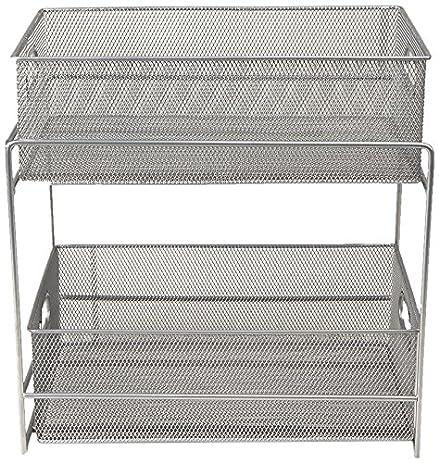 Mind Reader 2 Tier Metal Mesh Storage Baskets Organizer, Silver