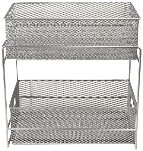 Mind Reader 2 Tier Metal Mesh Storage Baskets Organizer Home Office Kitchen Bathroom Silver