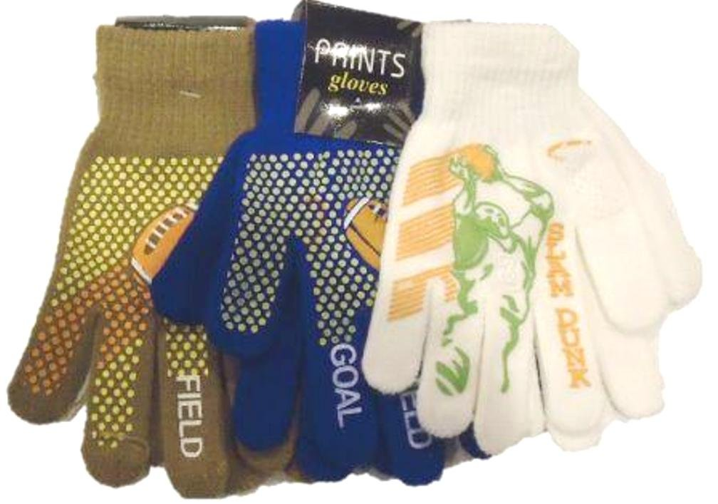 Three Prints Fleece Polyester with Microfiber Lined Very Warm Boys Gloves