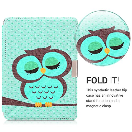 kwmobile Cover case for Kobo Aura Edition 2 with stand - Ultra slim case made of synthetic leather Sleeping Owl in turquoise brown mint by kwmobile (Image #2)