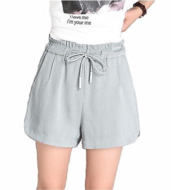 ce3c8b014fc123 Leinen Shorts Damen Sommer Kurze Hosen Frauen Hot Pants High Waist Lose  Stretch Beach Shorts,