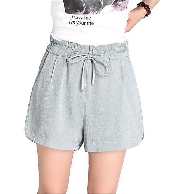 ffa2dd56fa64 TieNew Mujer Lino Pantalón Corto de Algodón con Cinturón, Mujeres ...