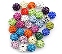 iCherry(TM) 12mm 100pcs/Lot Mixed Color Clay Pave Disco Ball for Rhinestone Crystal Shamballa Beads Charms Jewelry Makings