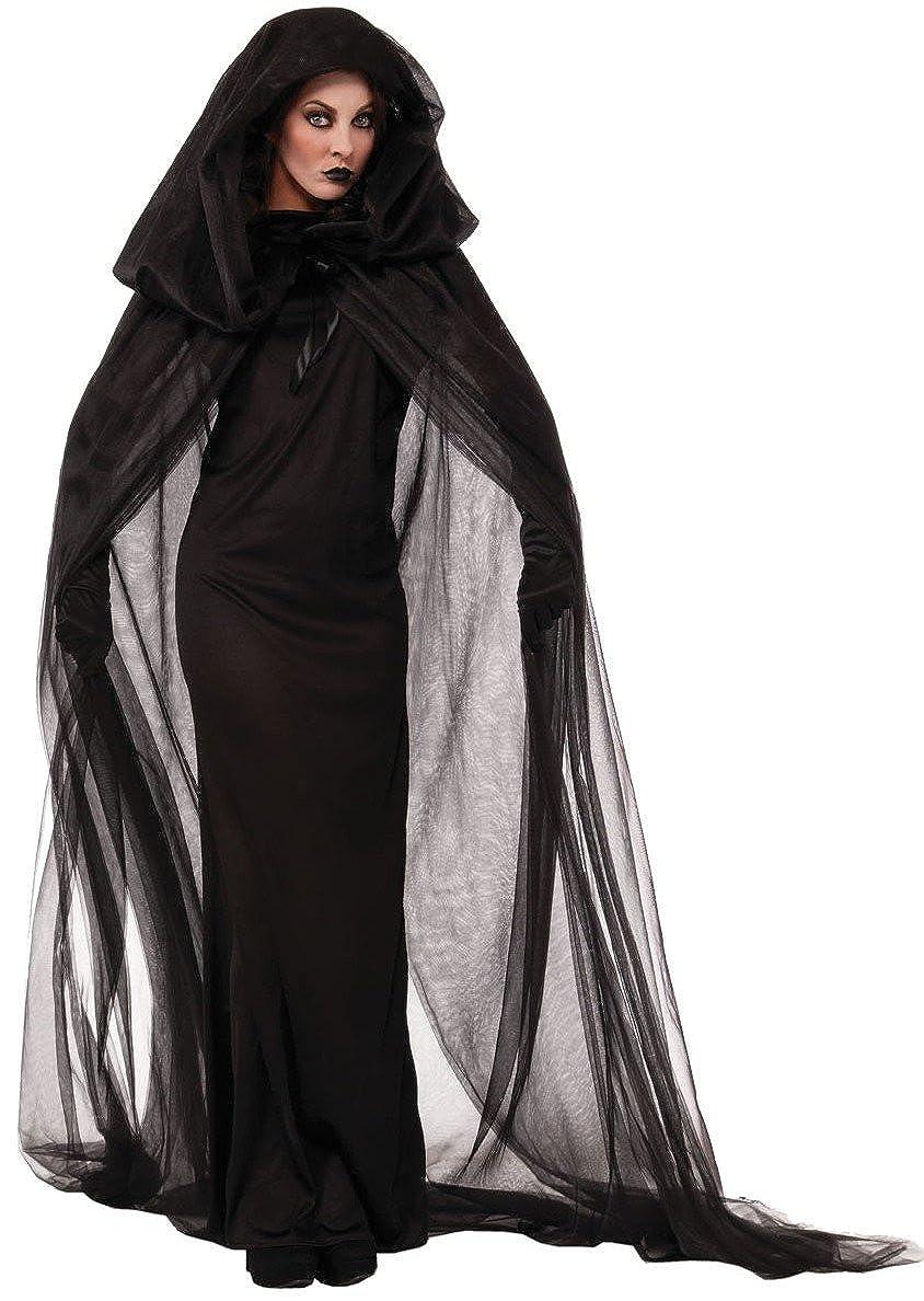 Cape aimerfeel Donne Nero Fantasma della sposa, il male della regina vestito cosplay lunga + lungo vampiro con cappuccio, costumi di Halloween signora che gestisce e costume, taglia M, XL