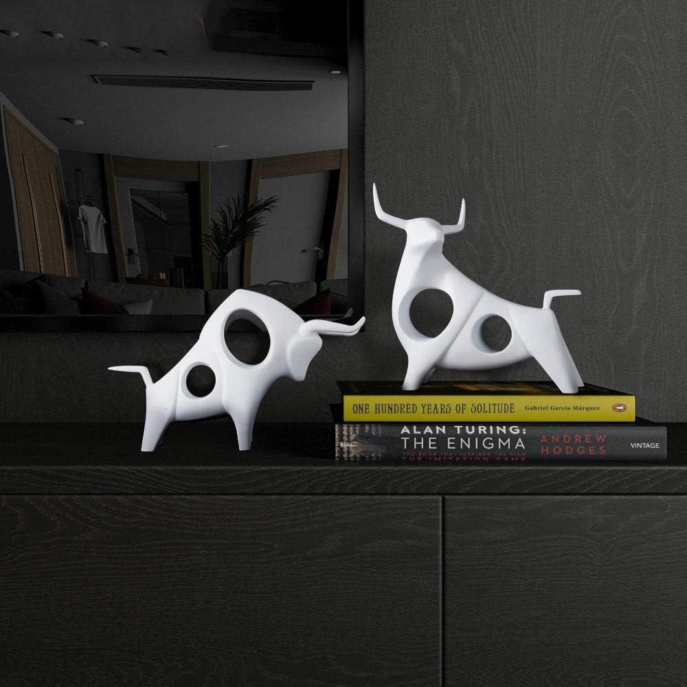 Blanc A YAOJII 1 pcs Bovins Statue D/écor /À La Maison Salon Taureau Sculpture Vin TV Cabinet Ornement Artisanat Abstrait Animal Figurine