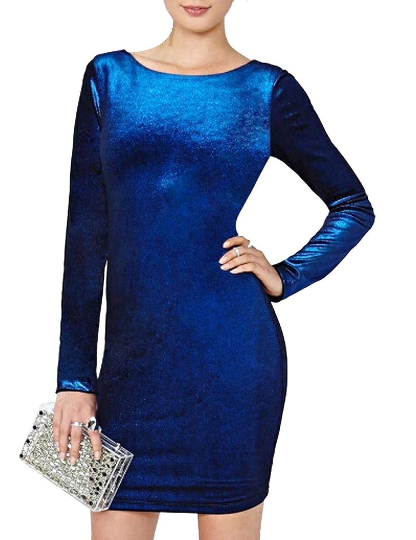 Eshion Womens Long Sleeves Backless Crewneck Bodycon Bandage Midi Evening Dresses