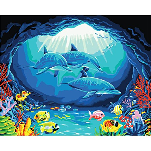 Alonea Diy Oil Painting, Paint by Number Kit - The Underwater World 16x20 Inch (Camouflage E)