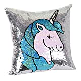 Leegleri Unicorn Magic Reversible Sequins Pillow Case, Sequin Throw Pillow Covers Decorative Cushion Cover Pillowcase for Couch Sofa Bed and Magic Unicorn Gift(1 Pack,Only Pillow Case)