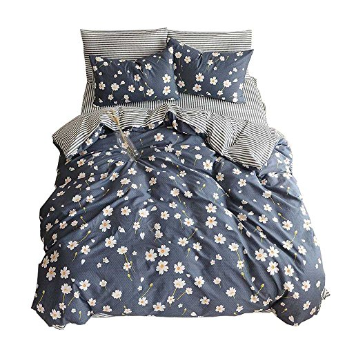 - BuLuTu White Flowers Daisy Print Pattern Floral Duvet Cover Sets King 100 Percent Cotton Navy,Reversible Striped Kids Bedding Sets 3 Pieces For Girls Women Zipper Zip,Shabby Chic,NO COMFORTER
