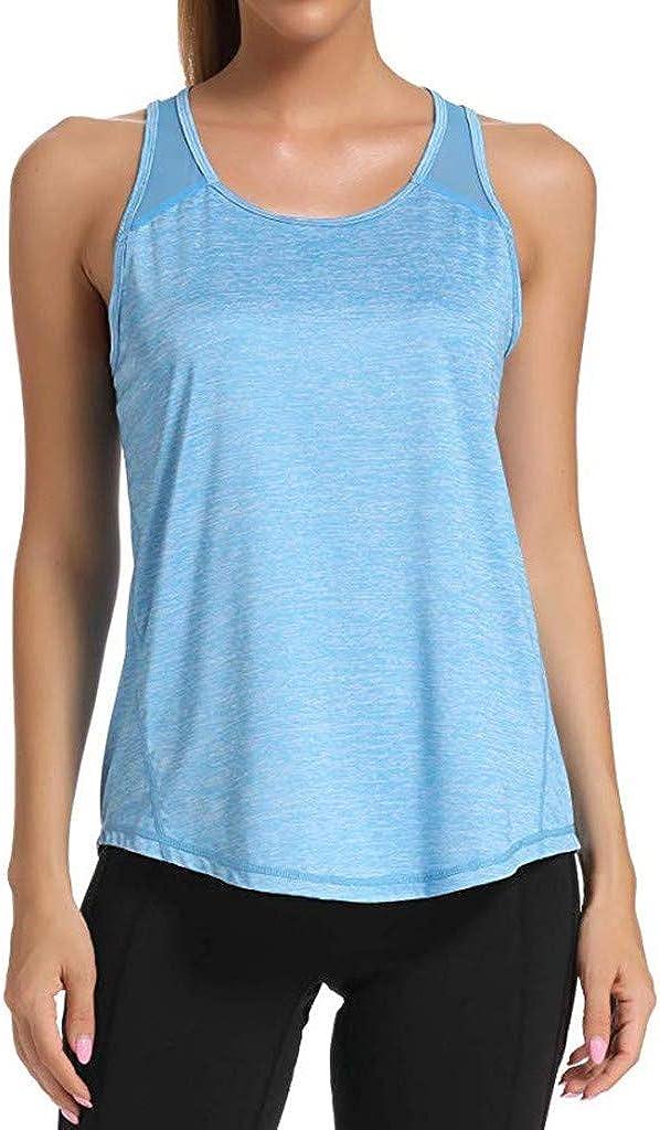 Moudozsdi Womens Workout T-Shirt Mesh Racerback Tank Tops Yoga Shirts Gym Clothes Activewear