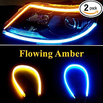 LEADTOPS LED Daytime Running light Turn Signal Bulb 24In Switchback Sequential Headlight DRL Strip Flexible Tube Dual Color White Amber//Yellow Angle Eye Neon for Car Motorcyle 2-Pack