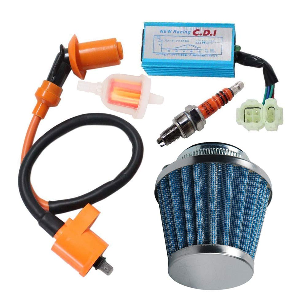 Racing Ignition Coil 6 Pins Cdi Spark Plug Kit, 39mm Air Filter, Fuel filter for 50cc 125cc 150cc Gy6 Moped Scooter Go Kart by OXOXO