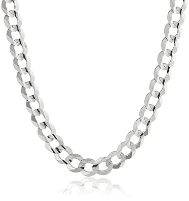 c040ec6a2f7 NYC Sterling Men s 7MM Solid Sterling Silver .925 Curb Link Chain Necklace