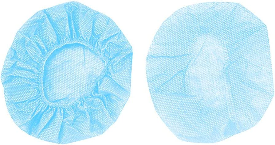 BAOIWEI Universal Disposable Earpad Covers for Small Headphones and All Headsets 100pcs Hygienic Sanitary Breathable Earpad Covers Blue
