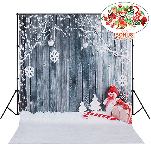 Christmas Backdrops with Photo Booth Props, MeeQee 5X7ft Photography Backdrop Wooden Wall Snow Background Outdoor Scene Snowman Pictorial Cloth Customized Photography Background Studio Prop, MQ-CH1 -