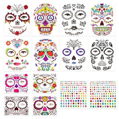 Koogel Temporäre Gesicht Tattoos, 12 Blatt Tag der Tote Schminken Totenkopf Gesichtstattoo für Karneval Halloween Fright Night Cosplay Maskerade Party Fasching Deko