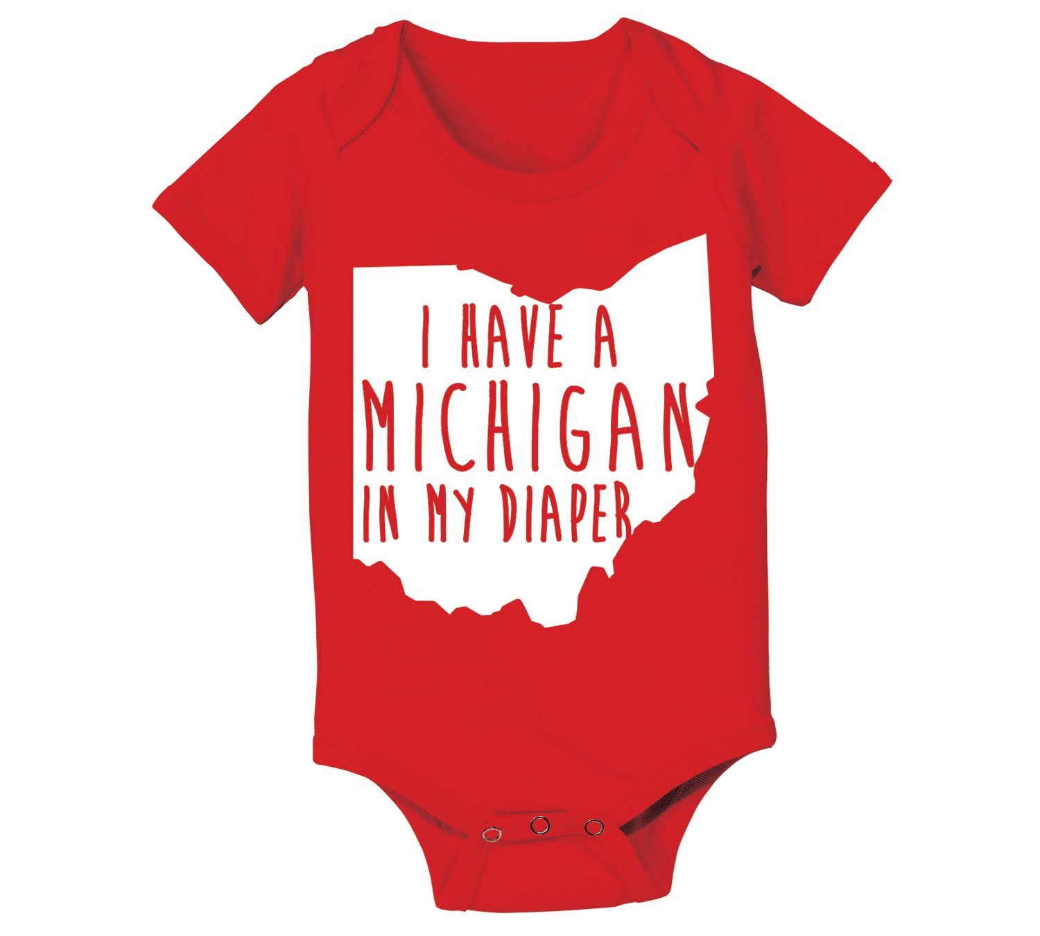 CP Clothing Michigan In My Diaper Funny Buckeyes State of Ohio Football Baby One Piece Newborn Red