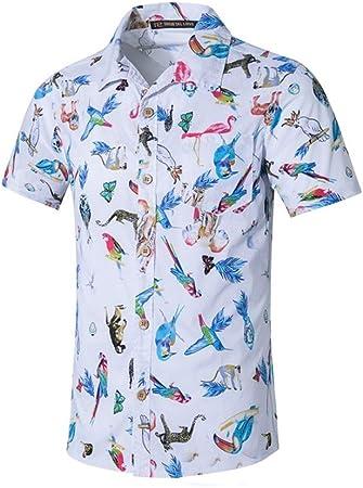 Camisas para Hombre Regular Fit, Camisa Hawaiana Tropical Hawaiana 100% Texturizada de Manga Corta para Hombre Verano Casual (Color : Blanco, tamaño : 5XL): Amazon.es: Hogar