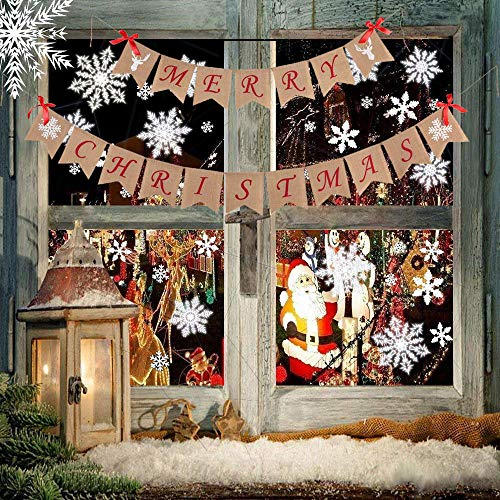 Merry Christmas Burlap Banner, 106 pcs White Snowflakes Window Clings Christmas Winter Wonderland Decorations, Christmas door decorations Christmas Decorations Clearance stocking stuffers ()