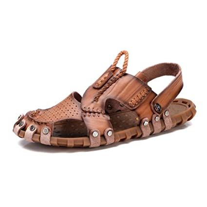 60caaf89a51769 Image Unavailable. Image not available for. Color  Men s Shoes Leather  Sandals Spring Summer Comfort Light Soles Sandals Walking ...
