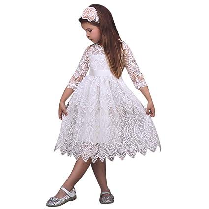 13b8260c6d63a ワンピース キッズ服 Glennoky 五分袖 レースドレス お姫様 プリンセス 可愛い お嬢様 ベビー服 子供服