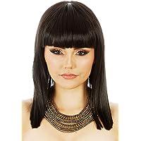ALLAURA Cleopatra Egyptian Queen Black Blunt Bob Costume Wig