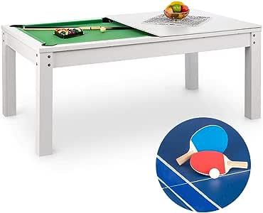 Oneconcept Liverpool - Mesa de Billar 3 en 1, Mesa de Ping Pong, Mesa de Comedor, Material MDF, Accesorios incluidos, Color Blanco: Amazon.es: Deportes y aire libre