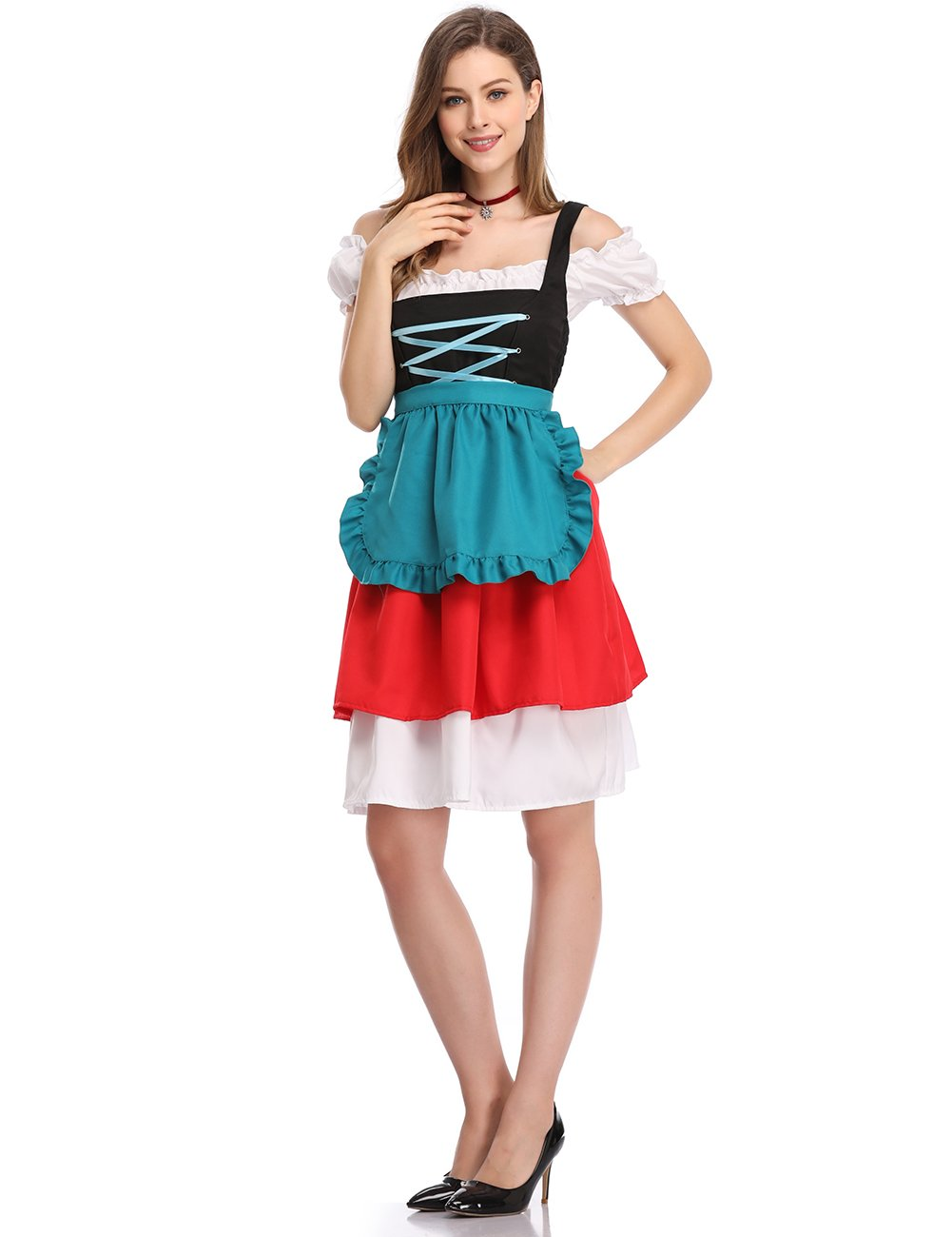 GloryStar Women's 3 Pcs German Dirndl Serving Wench Bavarian Oktoberfest Adult Costumes (S, Red/Green) by GloryStar (Image #3)