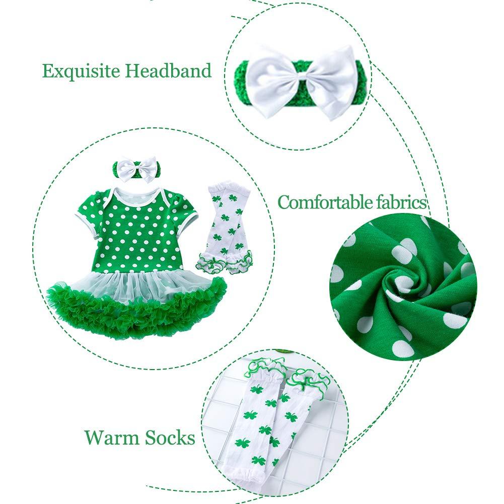 Xifamniy Baby Girls Newborn My 1st ST Patricks Day 4PCs Bodysuit Romper Green Dress Tutu Headband Leg Warmer Outfit Set