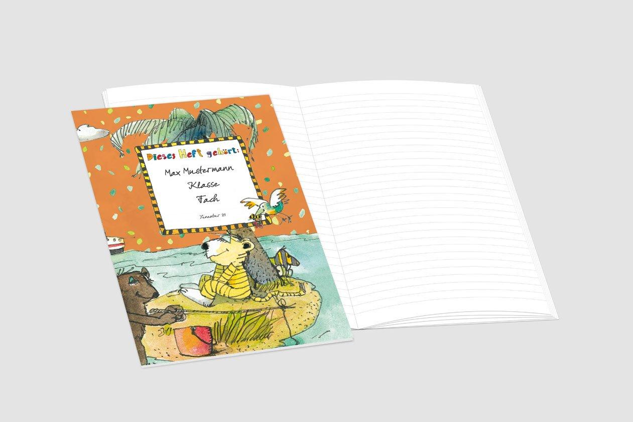 24 lustige JANOSCH-Schulhefte A4, »Auf der Trauminsel«,Lineatur 20, Ozeanblau, personalisierbar, personalisierbar, personalisierbar, 32 Seiten B076PD9ZZW | Tragen-wider  8e9020