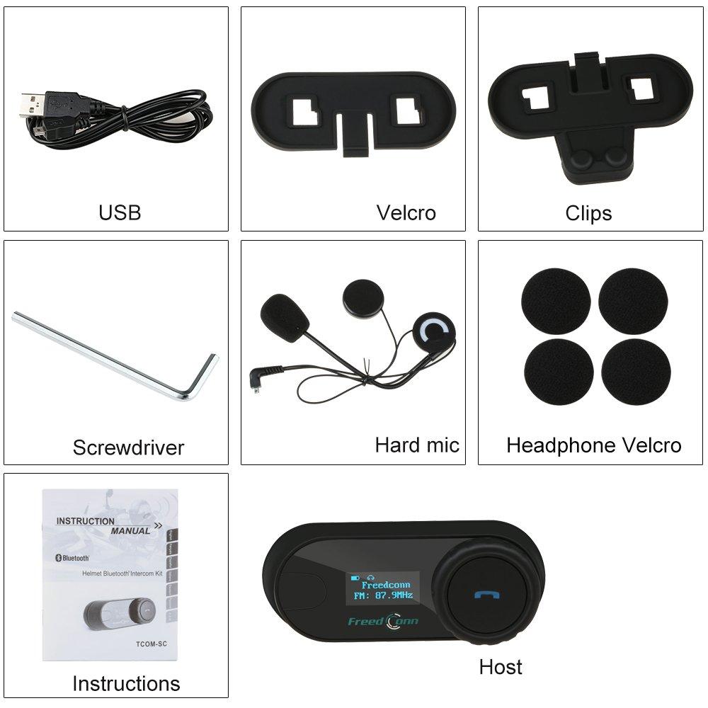 Impermeabile Motocicletta Interfono Casco Bluetooth Cuffie Communicator FreedConn TCOM-VB Microfono Intercom,Supporta la comunicazione fra 2-3 motociclisti ad una distanza di 800m