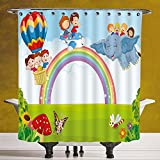 Durable Shower Curtain 3.0 by SCOCICI [ Rainbow,Cartoon Kids Flying on Baloon Plane and Elephant with Green Field and a Rainbow Decorative,Multicolor ] Digital Print Polyester Fabric Bathroom Set