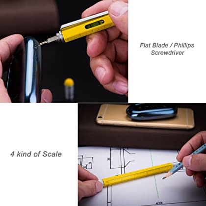 Useful Gadgets for Men, Amteker Multi Tool Pens for Mens Gifts, Touch Screen Stylus Pen, Ballpoint Pen with Scale Ruler, Spirit Level, Small Screwdriver Set, 4 The Pen Refills, Gifts for Men (Yellow)
