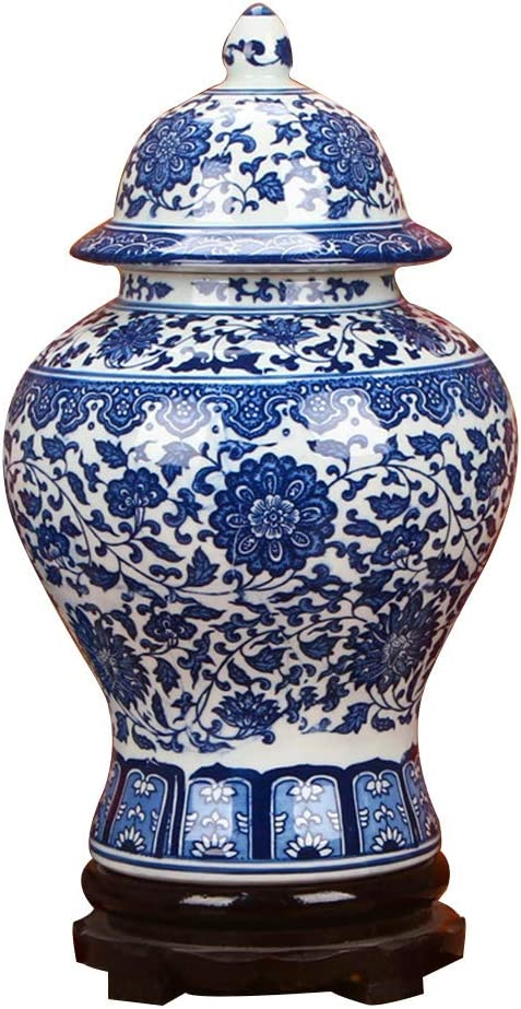 "ufengke Jingdezhen Classic Blue and White Porcelain Floral Temple Ginger Jar Vase, China Ming Style,Height 15""(38cm)"