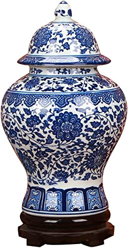 ufengke Jingdezhen Classic Blue and White Porcelain Floral Temple Ginger Jar Vase, China Ming Style,Height 15 38cm