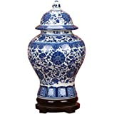 """ufengke Jingdezhen Classic Blue and White Porcelain Floral Temple Ginger Jar Vase, China Ming Style,Height 15""""(38cm)"""