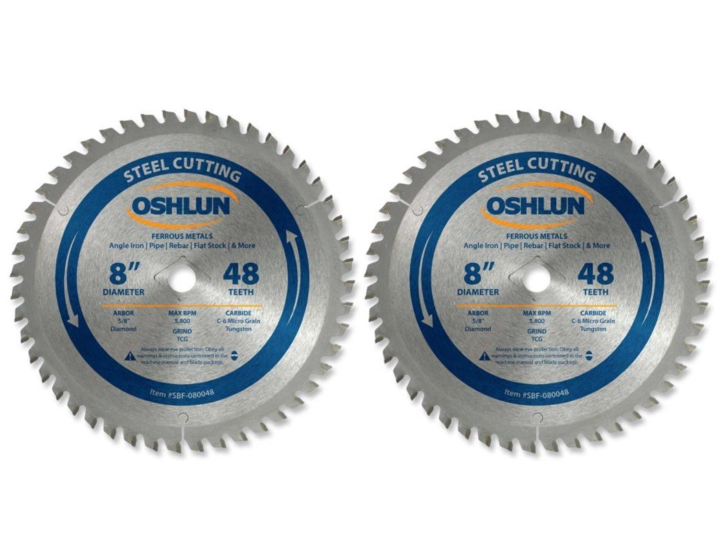 Oshlun SBF-080048 8-Inch 48 Tooth TCG Saw Blade with 5/8-Inch Arbor (Diamond Knockout) for Mild Steel and Ferrous Metals - 2 Blades (2)