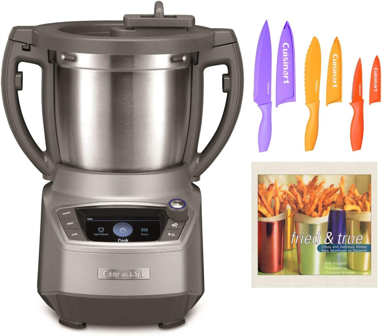 Cuisinart FPC-100 Complete Chef Cooking Food Processor with 6-Piece Nonstick Color Chef Knife Set and Cookbook Bundle (3 Items)