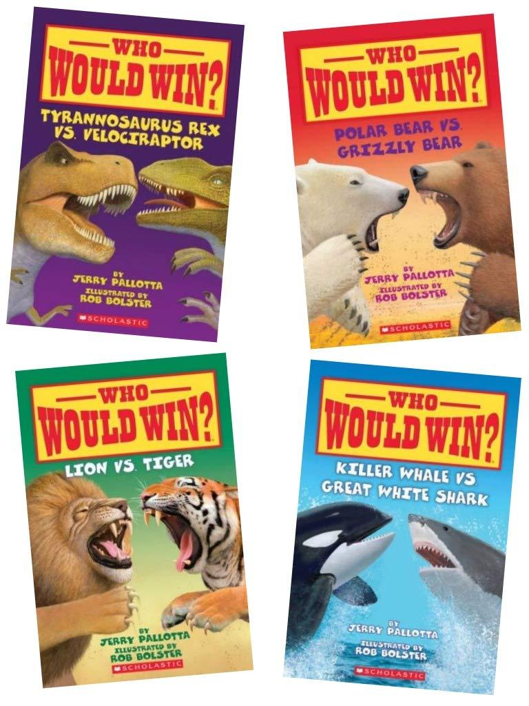Who Would Win Pack 4 Books Polar Bear Vs Grizzly Bear Killer Whale Vs Great White Shark Lion Vs Tiger Tyrannosaurus Rex Vs Velociraptor Jerry Pallotta Rob Bolster 9780545340847 Amazon Com Books
