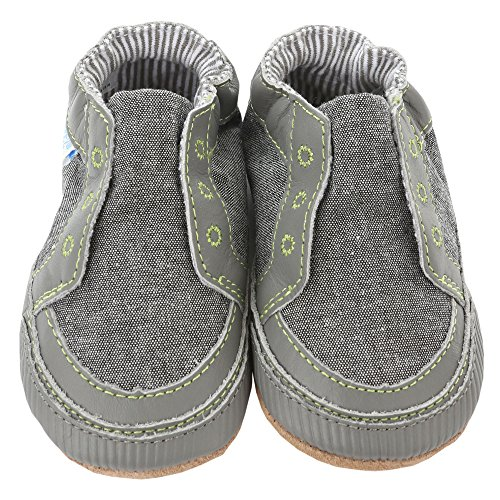 Robeez Newborn Baby Shoes Slip-On Sneakers For Boys Canvas Sneakers Soft Sole Crib Shoes Gray 6-12 Mths