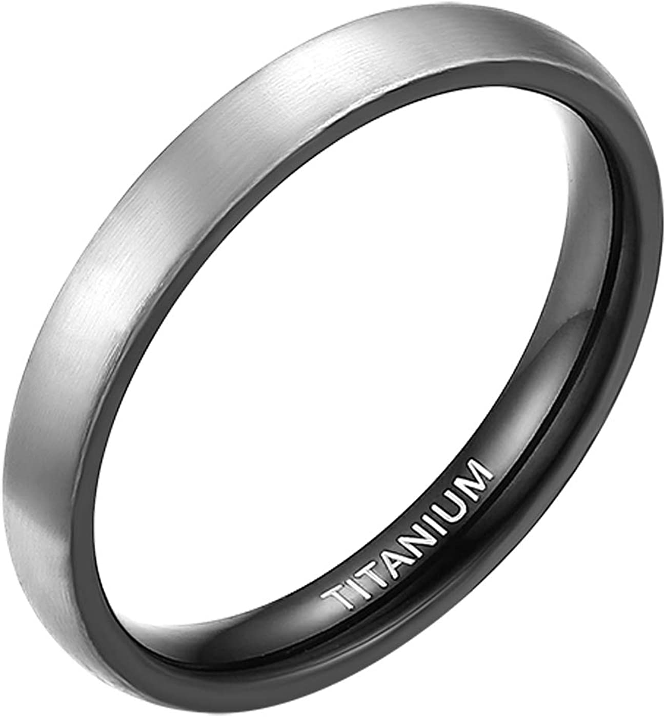 MABOHITY 3mm 4mm 6mm 7mm 8mm Titanium Rings Black Matte Brushed Domed Wedding Bands for Men Women Size 4-15