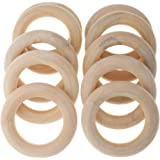 MagiDeal 10 Pieces 58mm Wooden Loop Connectors Circles Natural Wood Teething Rings for DIY Craft
