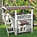 Petsfit 2 Story Weatherproof Outdoor Cat House With Stairs For Cats Up To 18 Pounds