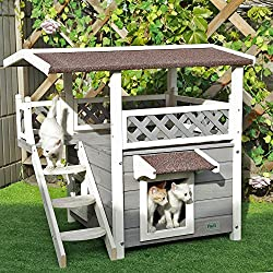 "Petsfit 30""x22""x29""Outdoor cat house,New Version With Escape Door, Ideal cat condo,Weatherproof Cat Shelter"