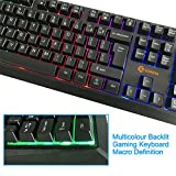 Backlit LED Gaming Keyboard, Sonfan Mechanical Feel USB Wired Keyboard for PC Compact Full Keyboard (New Version)
