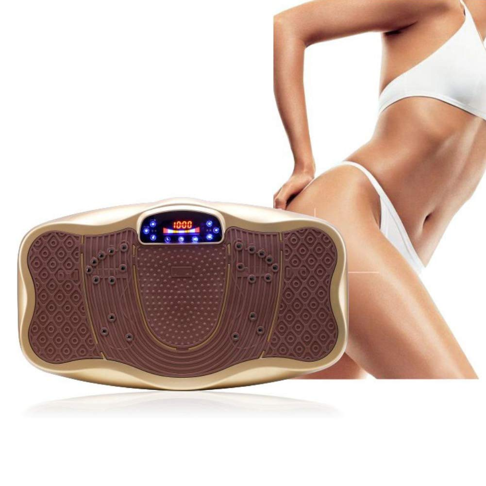 Vibration Platform Machines Fitness Body Vibration Machine Sole Magnetic Therapy with Vibration Plate and Remote Control,Gold