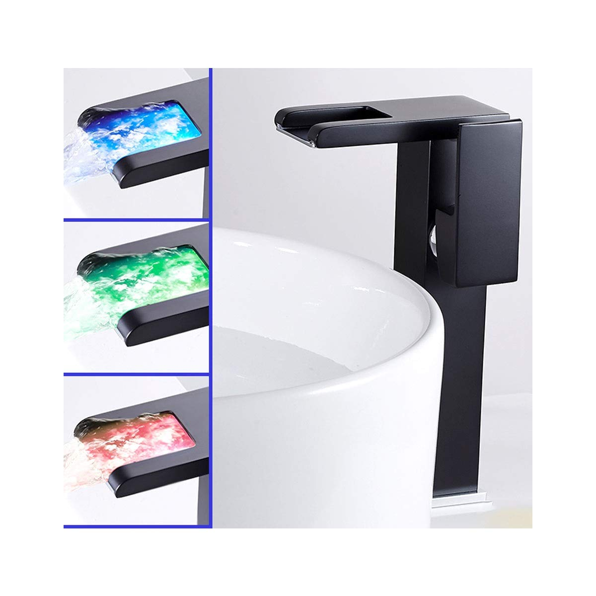 QIANZICAIDIANJIA Faucet, LED Temperature Control Faucet, Hot And Cold Water Faucet, Bathroom Creative New All-copper Basin Faucet stainless steel faucet (Color : Black, Size : B) by QIANZICAIDIANJIA