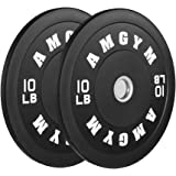 AMGYM LB Bumper Plates Oplympic Weight Plates, Bumper Weight Plates, Steel Insert, Strength Training, Pair