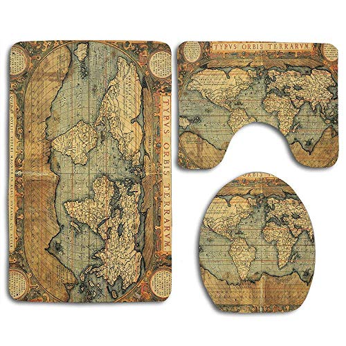 YGUII 16th Century Map of The World History Adventure Boundaries Cartography Civilization Image Bathroom Rug Mats Set 3 Piece Bath Mat Contour Mat and Lid Cover Bathroom Doormats Decor Non Slip